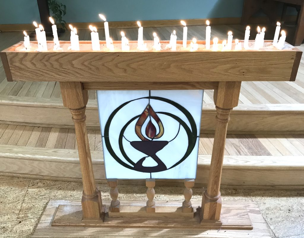 Candles lit during Joys and Sorrows in our sanctuary